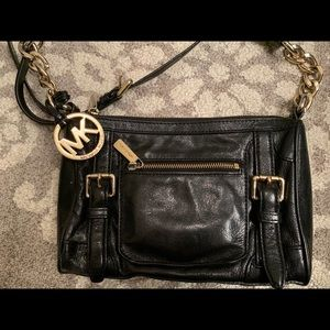 Michael Kors Black with Gold Leather Crossbody